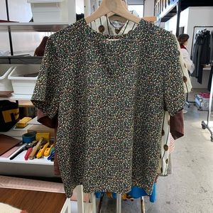 Vintage // Confetti Print S/S Blouse Party Top